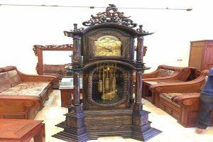 Đồng hồ cây tứ trụ gỗ mun Lào