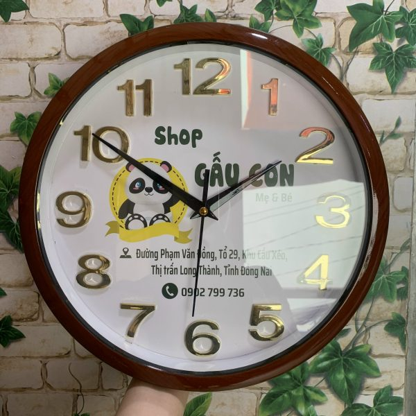 Đồng hồ treo tường in logo 30cm Số Nổi Sơn gỗ -( Vành Bo )