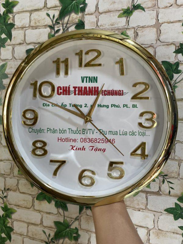 Đồng hồ treo tường in logo 30cm Số Nổi vanh xi -( Vành Bo )