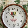 Đồng hồ treo tường in logo 30cm sơn gỗ -( HLX) làm quà tặng doanh nghiệp (1)