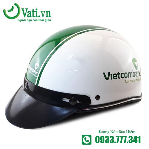 xưởng sản xuất in logo Mũ Nón Bảo Hiểm In Logo Làm quà tặng Vietcombank vati , giao hàng đúng hẹn, làm từ 50 cái, thiết kế miễn phí, giao hàng toàn quốc