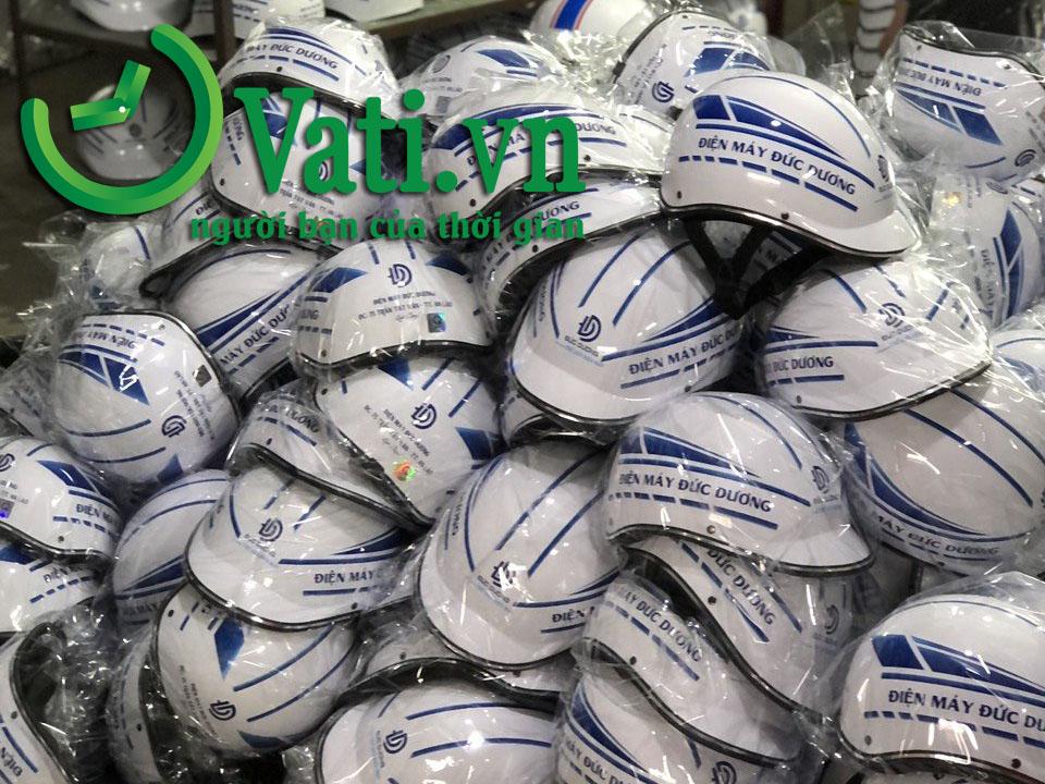 Quy trình đặt hàng và sản xuất nón bảo hiểm quảng cáo tại Vati