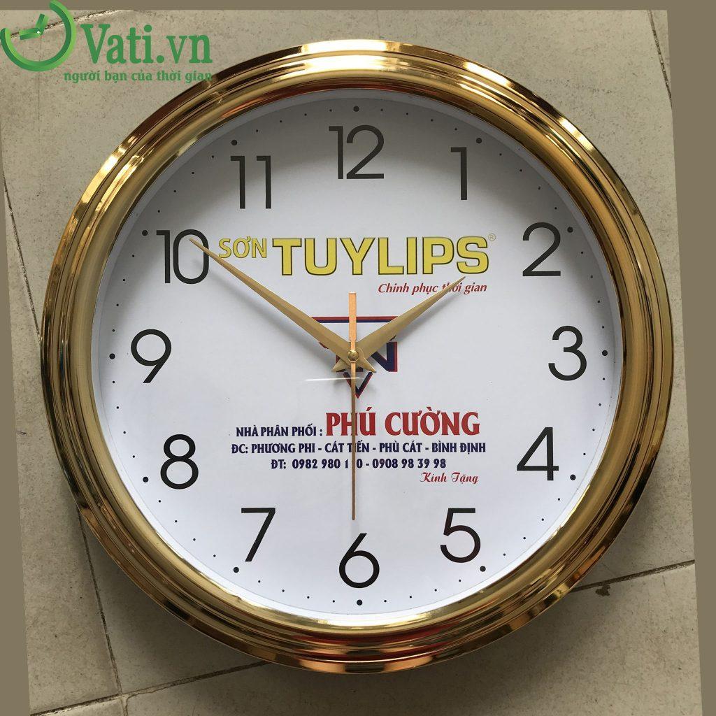 Đồng hồ treo tường in logo vành xi số thường 30x30cm