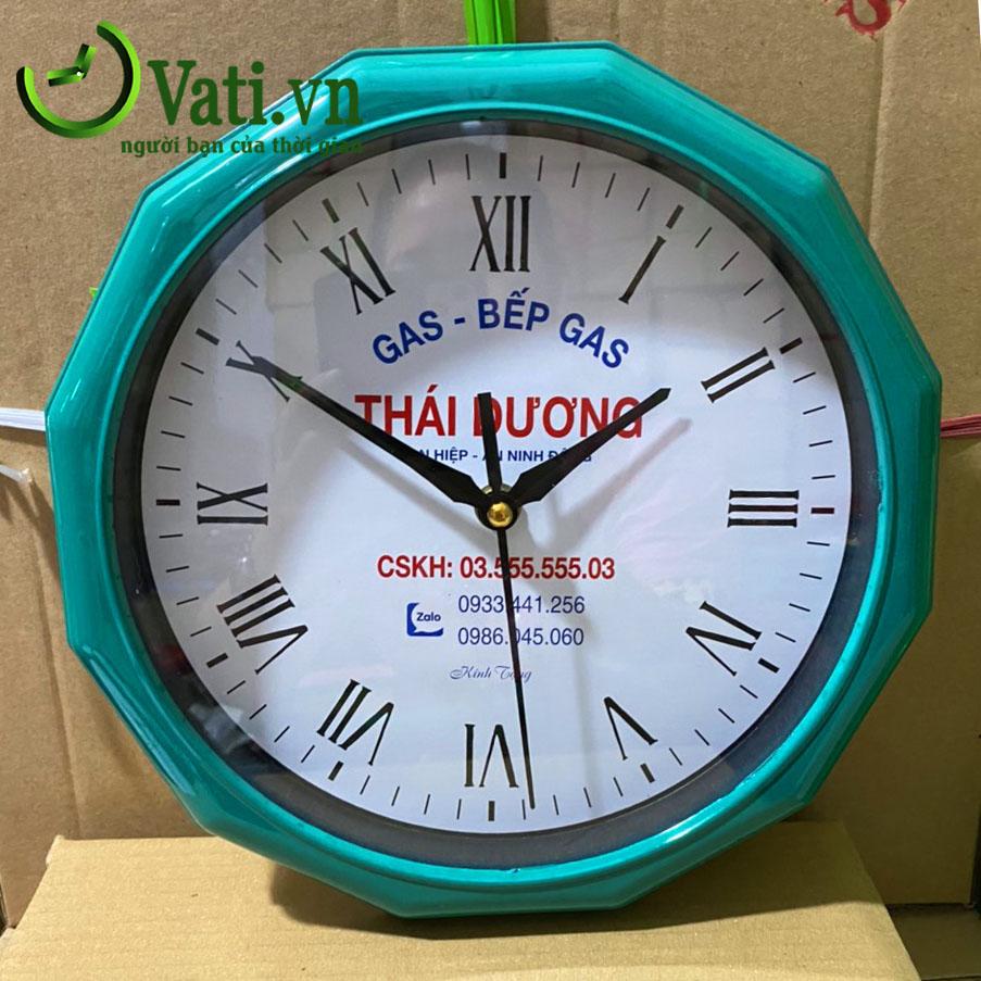 Đồng hồ treo tường in logo làm quà tặng Vati N02