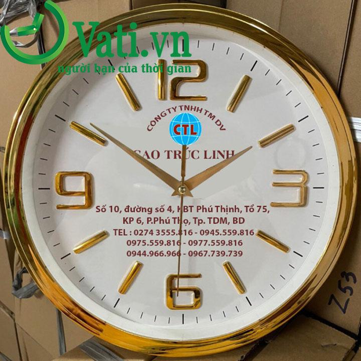 Đồng hồ treo tường in logo vành xi nấc 30x30cm