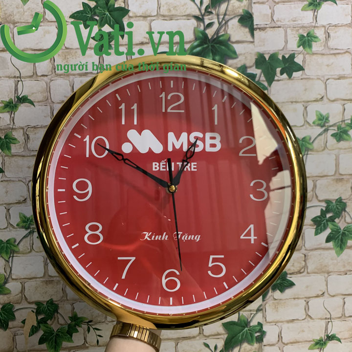 Đồng hồ treo tường in logo full màu mặt số (vành xi)