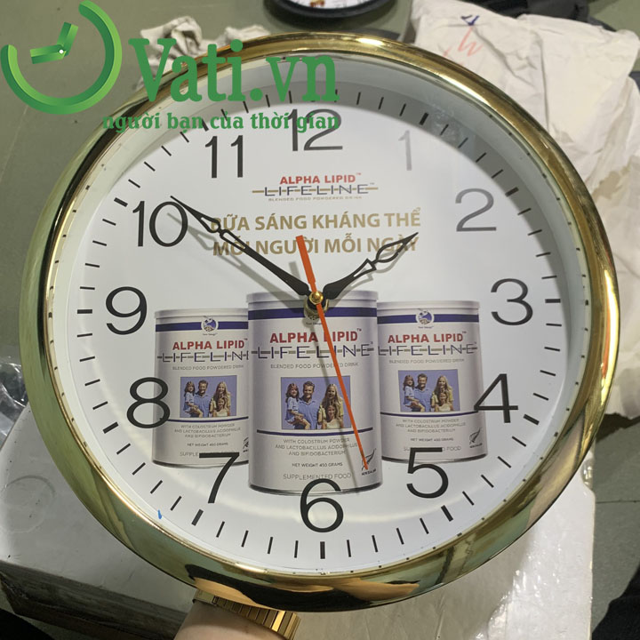 Đồng hồ treo tường in logo vành xi mặt số thường 30x30cm