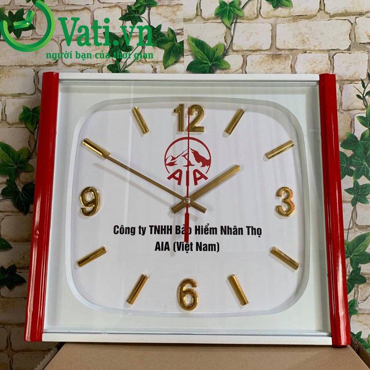 Đồng hồ treo tường in logo mẫu vuông V84 - Vati